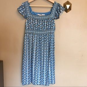 Max Studio Blue Floral Peasant Dress M